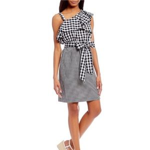 Calvin Klein Dress Gingham Black White Ruffle